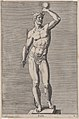 Plate 4- Apollo; statue of the nude god standing on a socle, wearing a crown and holding a scepter in his right hand and an orb in his left; from 'Statues of Roman Gods' after Jacques Jonghelinck MET DP874723.jpg