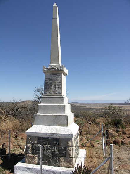 Imperial Light Horse Memorial on Platrand Ladysmith (28deg35'28''S 29deg45'33''E / 28.59104degS 29.75909degE / -28.59104; 29.75909) -- at the location of the Battle of Wagon Hill in which 30 men from the regiment died and whose names are engraved on the monument. Platrand-Imperial Light Horse Memorial-001.jpg