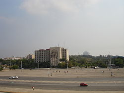 Plaza of the Revolution and the Ministry of the Interior seen from the José Martí memorial