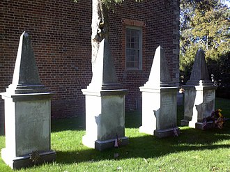 William Fitzhugh - Fitzhugh graves at Pohick Church; William's is on the extreme left