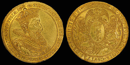 Coat of arms of the Royal City of Gdańsk on a 1614 gold 10 ducat coin (depicting Sigismund III Vasa on the obverse).[11]