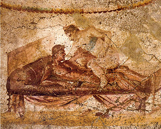 Wall painting from the Lupanar (brothel) of Pompeii Pompeii - Lupanar - Erotic Scene - MAN.jpg