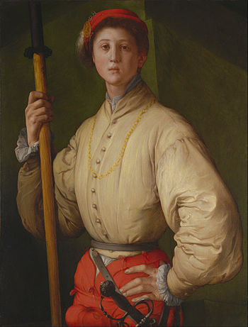 Pontormo, Portrait of a Halberdier, 1528–1530. Sold by Christie's for US $35. 2 million in 1989. (J. Paul Getty Museum, Los Angeles) Pontormo (Jacopo Carucci) (Italian, Florentine) - Portrait of a Halberdier (Francesco Guardi%3F) - Google Art Project.jpg