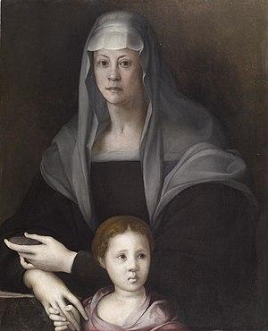 Portrait of Bia de' Medici - Maria Salviati with Giulia de' Medici in a portrait by Pontormo, c. 1537; Oil on panel, Baltimore, The Walters Art Museum.
