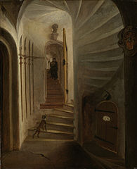 Portal of a stairway tower, with a man descending the stairs: presumably the moment before the assassination of William the Silent in the Ptinsenhof, Delft