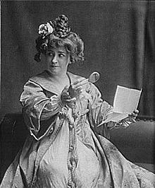 Black and white photograph of Minnie Maddern Fiske as Becky Sharp, c.1910
