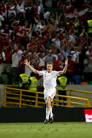 Martin Laursen - Laursen during the 3–2 win against Portugal on 10 September 2008; a qualification game for the 2010 World Cup.