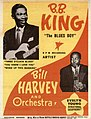 Poster of B.B. King and Bill Harvey (saxophonist) and Orchestra, featuring photos of B.B. King holding his guitar and Evelyn Young playing saxaphone. - 8049g557h files 92a57ed3-1d17-4a52-bda9-53dd48145101.jpg