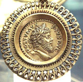 Postumus - Aureus of Postumus, within a pendant