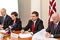 Preses konference par Ministru prezidenta Valda Dombrovska vadītās trešās valdības veikumu pirmajās simts dienās un nākotnes iecerēm (6770482961).jpg