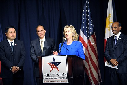 United States Secretary of State Hillary Clinton delivers remarks at the Millennium Challenge Corporation (MCC) compact agreement signing ceremony with President Benigno S. Aquino III at the Waldorf-Astoria Hotel in New York City, on September 23, 2010. President Benigno Aquino III with U.S Secretary of State Hillary Clinton.jpg