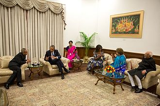 Pranab Mukherjee - President Mukherjee with President Barack Obama with First Lady Michelle Obama and Vice-President Mohammad Ansari.