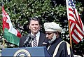 President Ronald Reagan during the arrival Ceremony for Sultan Qaboos bin Said of the Sultanate of Oman.jpg