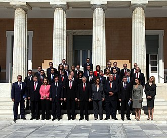 Cabinet of George Papandreou - Initial cabinet of George Papandreou outside the Hellenic Parliament on October 7, 2009