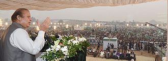 Nawaz Sharif - Sharif addressing a rally at Sangla Hill.