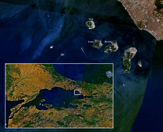 Sedef Island - Satellite photo of the Princes' Islands (Sedef Adası is the first small island at right, next to Büyükada)