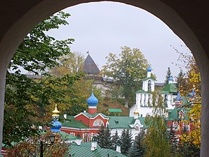 Pskov-Caves Monastery - View of Pskovo-Pechorsky Monastery, seen over the monastery walls.