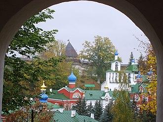 Pskov-Caves Monastery - View of Pskovo-Pechorsky Monastery, seen over the monastery walls.