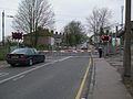 Purfleet station level crossing look southwest closed.JPG