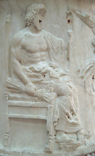 Thunderbolt - Neo-Attic bas-relief sculpture of Jupiter, holding a thunderbolt in his right hand; detail from the Moncloa Puteal (Roman, 2nd century), National Archaeological Museum, Madrid