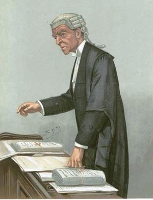 Queen's Counsel - A 1903 caricature of Robert McCall KC (formerly QC) wearing his court robes at the Bar of England and Wales. For court, he wears a short wig, and bands instead of lace at the collar, but he retains the silk gown and court tailcoat worn on ceremonial occasions.