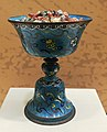 Qing dynasty copper and enamel oil lamp IMG 5889 Great Lama Temple Beijing.jpg