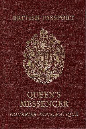 Queen's Messenger - British passport of the Queen's Messenger travelling on official business