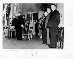 Proclamation of accession of Queen Elizabeth II - The proclamation of the accession of Queen Elizabeth II to the Australian throne being read at Queensland's Government House by Governor Sir John Lavarack