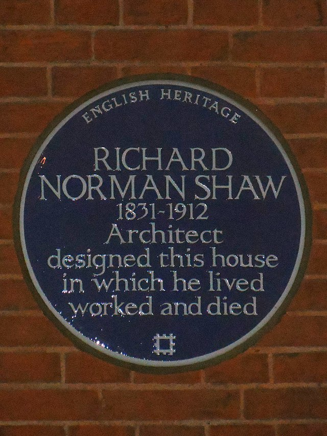 Richard Norman Shaw blue plaque - Richard Norman Shaw 1831-1912 architect designed this house in which he lived worked and died