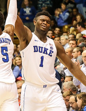 Zion Williamson - Williamson celebrates with Duke in 2018.
