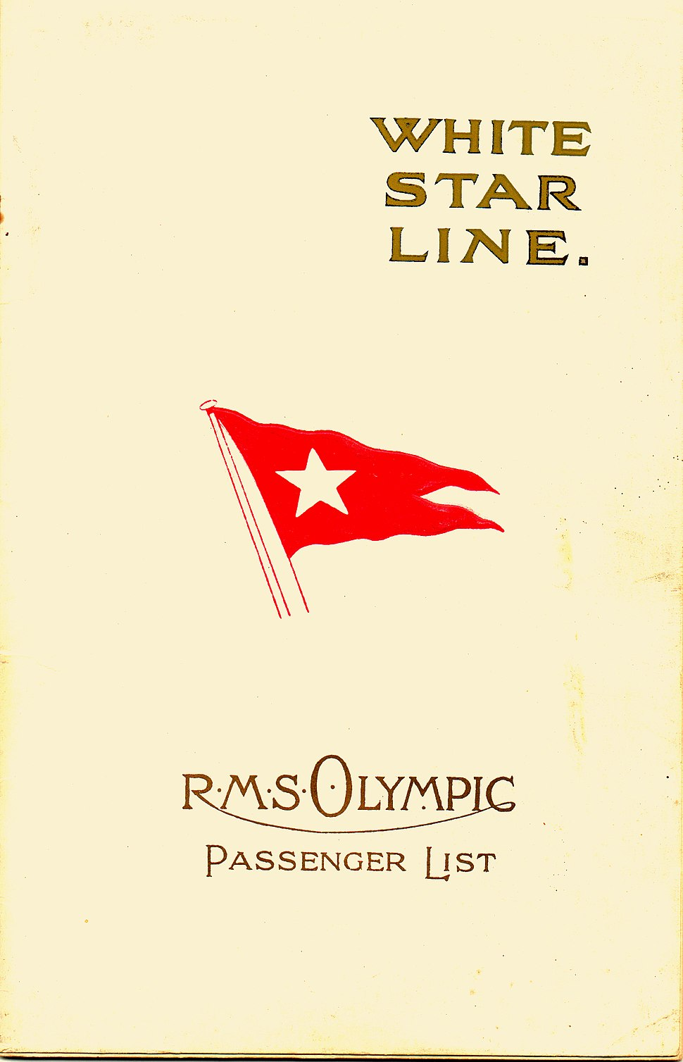 RMS Olympic Passenger List 1923
