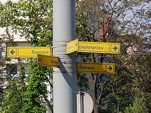 Račianske mýto - Directional sign at Račianske mýto