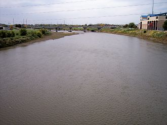 Raccoon River - Raccoon River viewed upstream from its mouth in Des Moines. Principal Park is at right.
