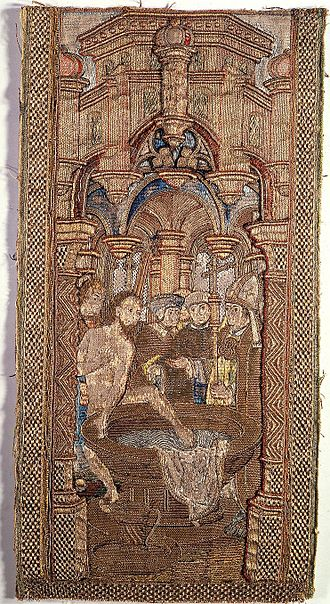 An early 16th-century tapestry depicting the near baptism of Redbad, King of the Frisians, who died in 719 CE. Radboud doopvont.jpg