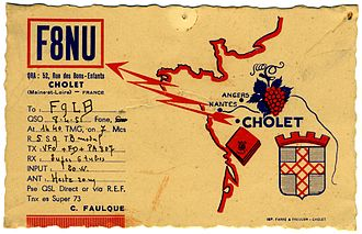 Heys Collection - The information side of a 1951 QSL card from France. (Not from the Heys Collection)