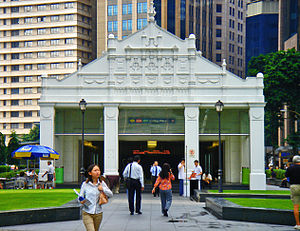 Mass Rapid Transit (Singapore) - The entrance of Raffles Place MRT station