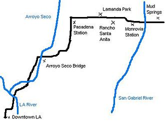 Los Angeles and San Gabriel Valley Railroad - Map of the 1886 Los Angeles and San Gabriel Valley Railroad