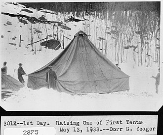 Horseshoe Park - Image: Raising one of the first tents (25563408502)