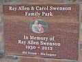 Ray Allen & Carol Swenson Family Park memorial sign, Jul 15.jpg