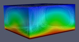 Rayleigh–Bénard convection - Simulation of Rayleigh–Bénard convection in 3D.