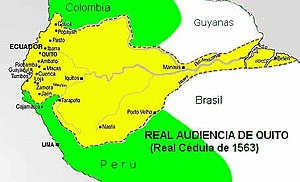 History of Ecuador - Map of Royal Audience of Quito. Most of its Amazonian territory was never under its effective control.