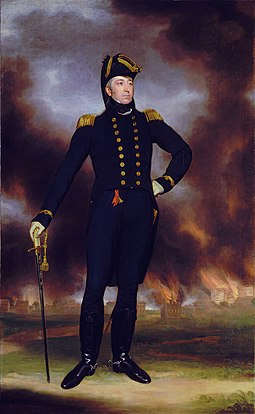 Portrait of Admiral Cockburn at the National Maritime Museum in Greenwich, with Washington burning in the background. The U.S. Capitol and Treasury Building are at far right. Rear-Admiral George Cockburn (1772-1853), by John James Halls.jpg