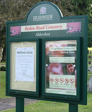 Aldershot Cemetery - Sign post at Aldershot Cemetery