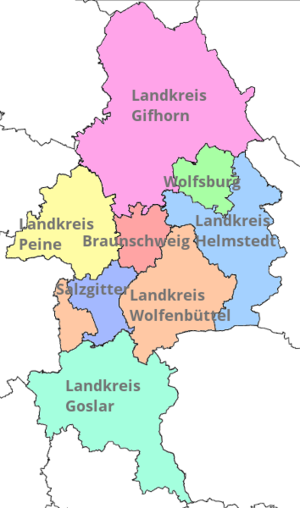 Brunswick Land - Cities and districts of the Braunschweig Region