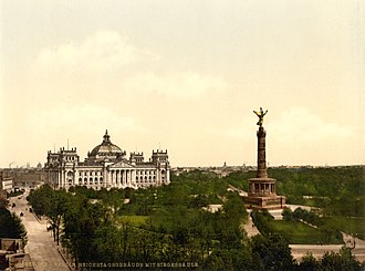 Berlin Victory Column - Victory Column in its original size and location, on the Königsplatz across from the Reichstag, in 1900