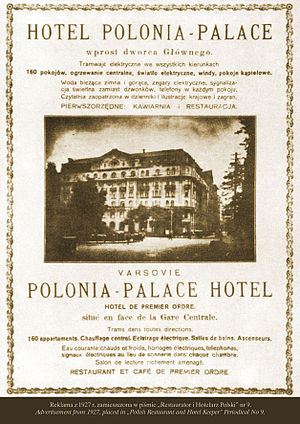 Hotel Polonia Palace - Advertisement from 1927