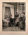 René Théophile Hyacinthe Laënnec auscultating a tubercular p Wellcome V0006752.jpg