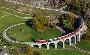 The Bernina Express on the viaduct.