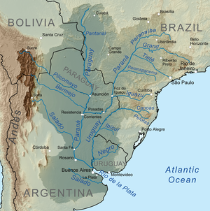 Map of the La Plata Basin, showing the Río de la Plata at the mouths of the Paraná and Uruguay rivers, near Buenos Aires.