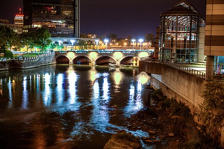 Genesee River and the historic Aqueduct Downtown RocNightAqueduct.jpg